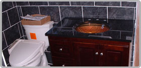 Granite Countertop with custom lighting and sink